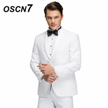 OSCN7 Wool Solid White Tailor Made Suits Plus Size Casual Wedding Dress Custom Made Suit Fashion Party Tuxedo 3168-8
