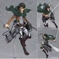 14 cm ataque anime en titan shingeki no kyojin scouting legión Levi Figma 213 Figura de acción DEL PVC Modelo Colección de Juguete de Regalo Eren