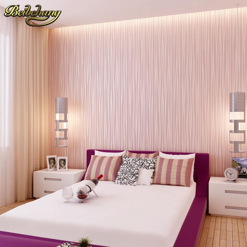 beibehang Modern plain pink wallpaper stripe classic pink wall paper striped non woven wallcovering pink papel de parede
