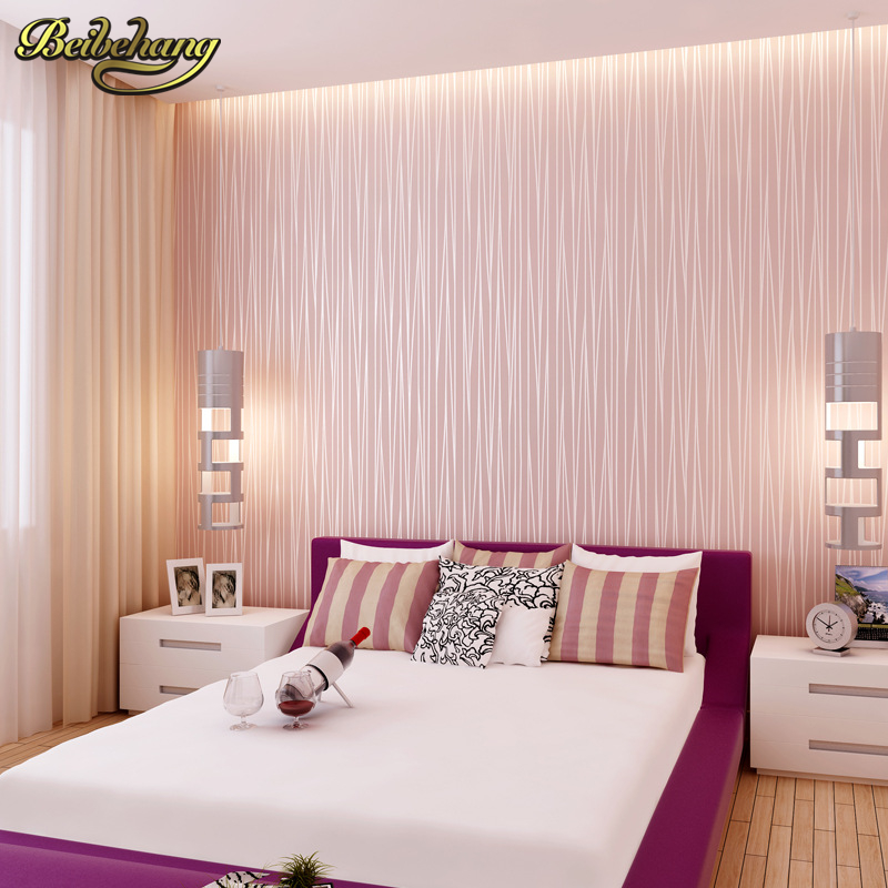 все цены на beibehang Modern plain pink wallpaper stripe classic pink wall paper striped non-woven wallcovering pink papel de parede онлайн