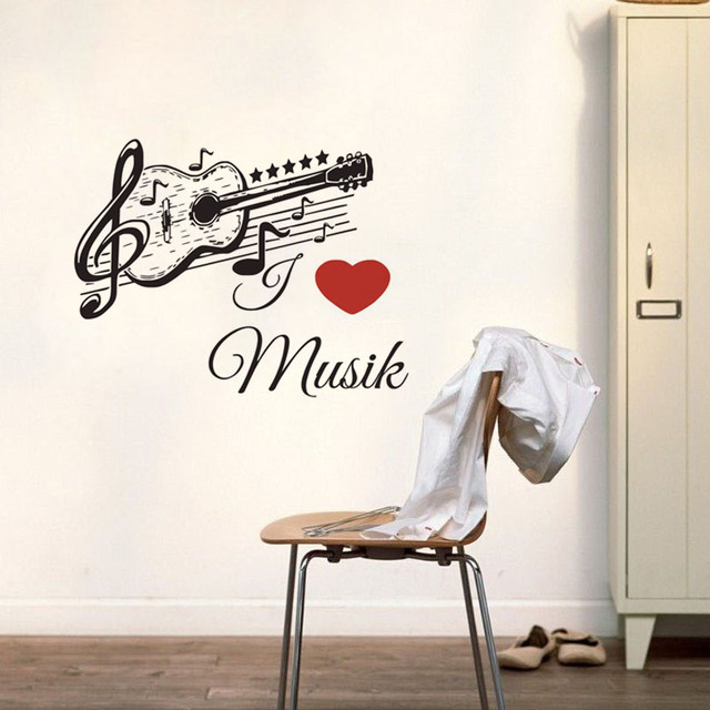 German music guitar wall sticker black removable art home decor vinyl musical note wall decal