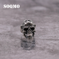 SOQMO Solid 925 Sterling Silver Skull Open Rings for Men Gift Punk Fashion Skeleton Ring Thai Silver Jewelry SQM062