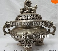 """10 """"Bezeichnete Chinesische Silver Dragon Phoenix Foo Fu Hund Statue Weihrauch Räuchergefäß-in Statuen & Skulpturen aus Heim und Garten bei"""