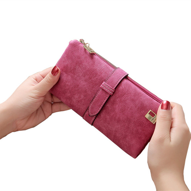 2018 Solid Drawstring Nubuck Leather Zipper Long Women Wallet Phone Bag Luxury Brand Wallets Designer Purse Card Holder Clutch 1