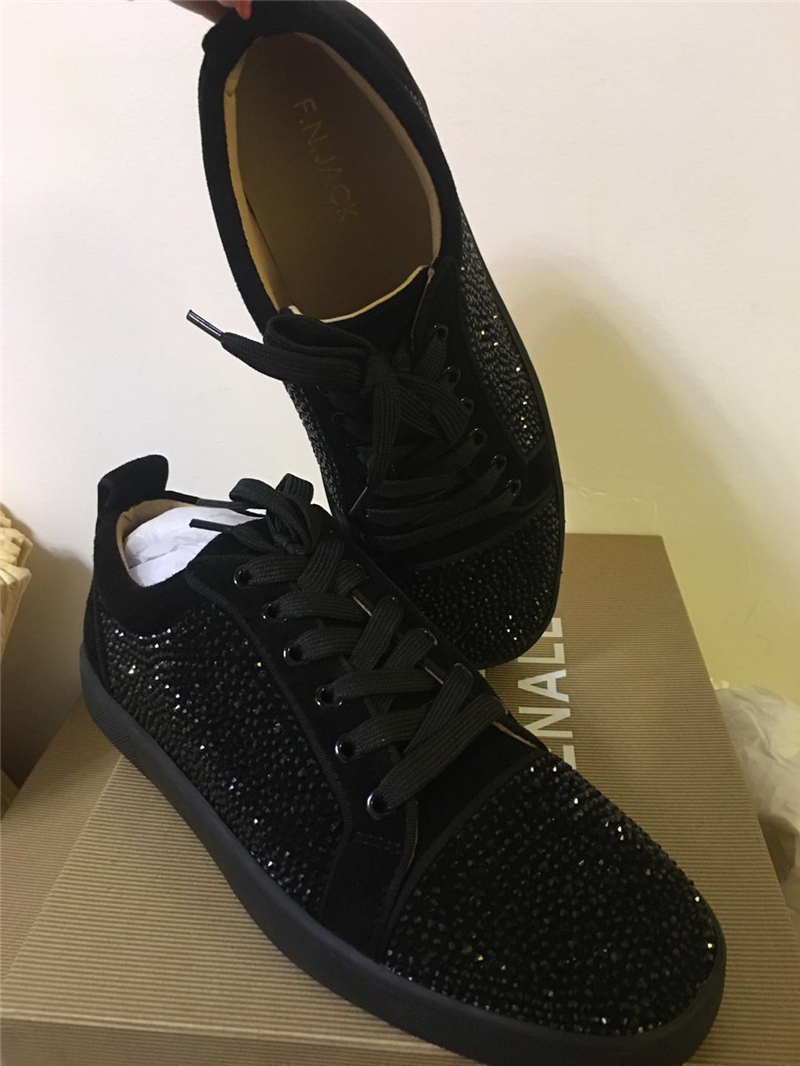 FNJACK Fashion Shoes Authentic Black Suede & Strass Swarovski Louis - Տղամարդկանց կոշիկներ - Լուսանկար 6