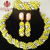 Yellow And Dark Blue White Jewelry Sets Fashion 2017 Newest African Wedding Jewelry Set For Bride