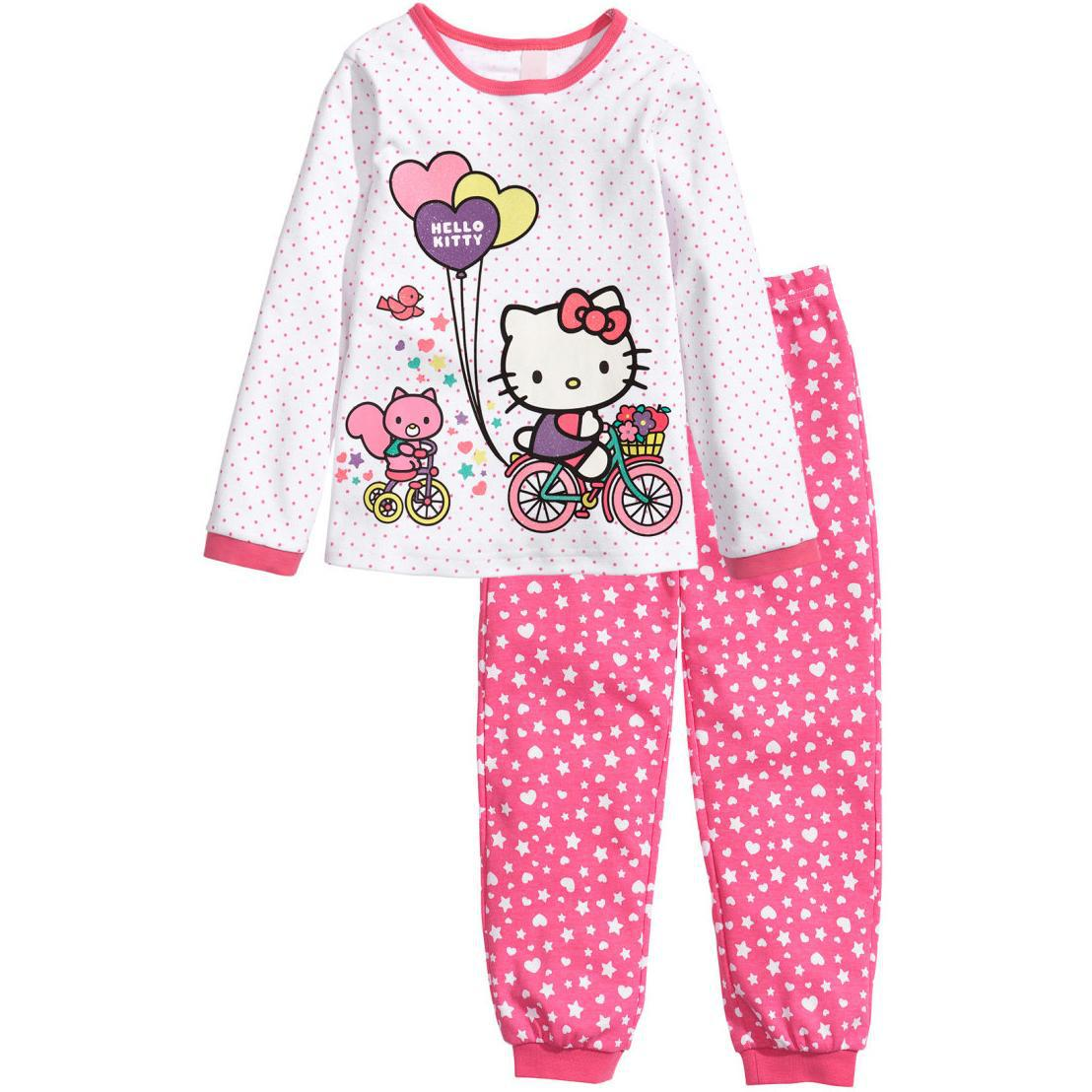 fb61e763eed2 New Promotion Child Nightwear Pajama Set Cotton Long Girl Heart ...