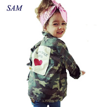 2018 Forår Baby Boys and Girls Parkas Outerwear Coats Børne Bomuld Fashion Unisex Full-Sleeve Camo Jakker Tøj