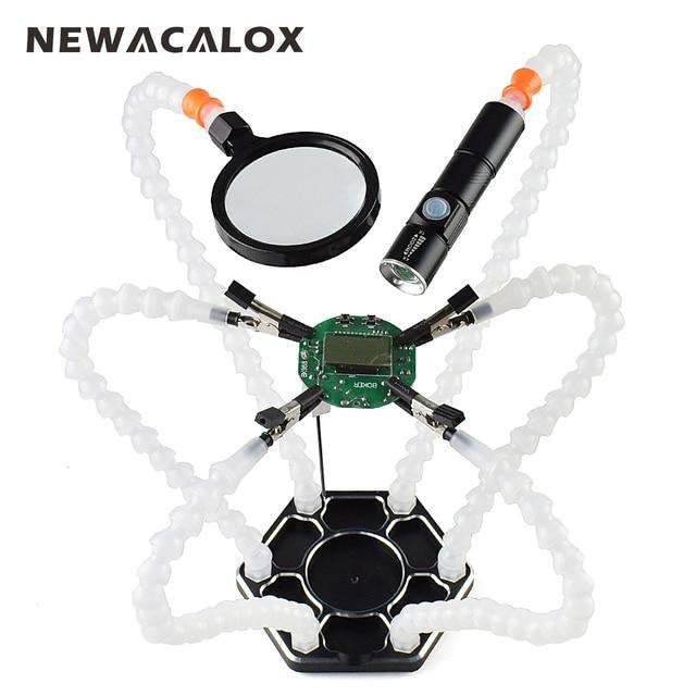 NEWACALOX третьей стороны Пана 6 шт. Руки помощи USB Перезаряжаемые фонарик увеличительное Стекло паяльная станция Ремонт сварки инструмент