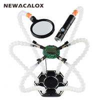 NEWACALOX Third Hand Pana 6pc Helping Hands USB Rechargeable Flashlight Magnifying Glass Soldering Station Repair Welding