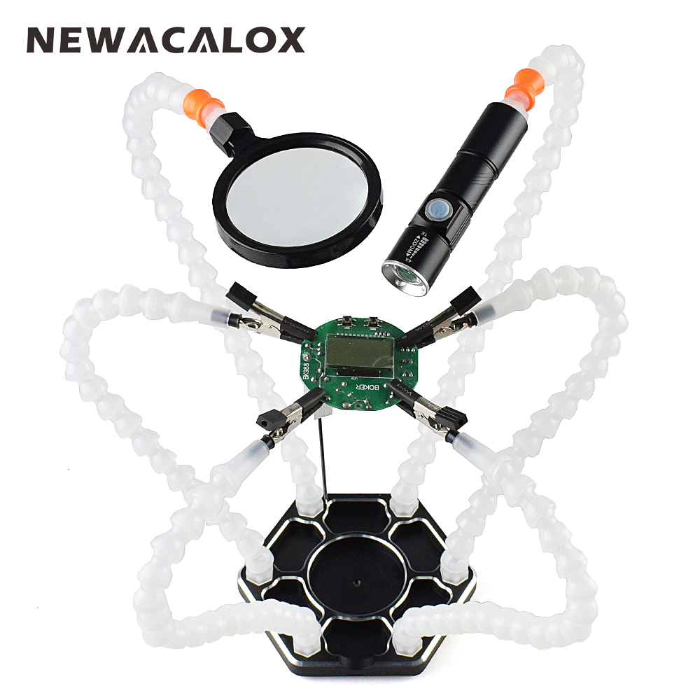 NEWACALOX Third Hand Pana 6pc Helping Hands USB Rechargeable Flashlight Magnifying Glass Soldering Station Repair Welding Tool