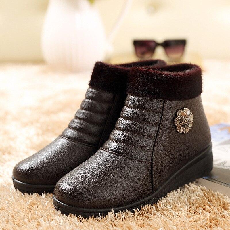 Designer Women Winter Boots Female Leather Waterproof Snow Ankle Boots Zipper Plush Antiskid Platform Botas platform bowkont flocking snow boots