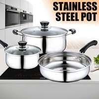 3 шт./компл., кухонный горшок для супа, сковорода, молочный горшок для индукционной плиты, газовая плита, кастрюля из нержавеющей стали со сте...