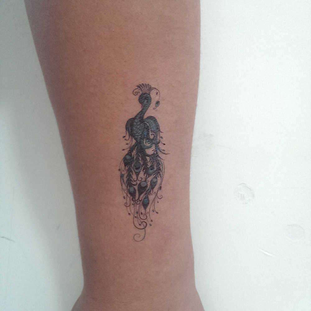 Falso tatuaje temporal impermeable transferencia de agua color Pavo Real plumas pegatina hombres mujeres chica belleza arte del cuerpo maquillaje X250