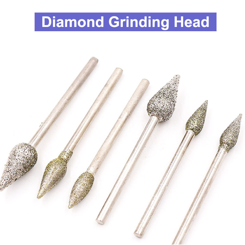 5pcs 3x4mm 3x5mm 3x6mm 3x8mm Torch-shaped Diamond Grinding Head Grinding Marble Marble Carving Electric Grinding Head