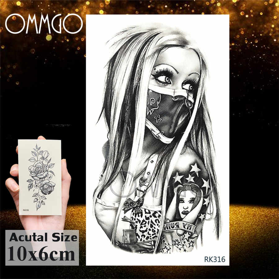 OMMGO 3D romb trójkąt czaszka zakonnica tymczasowa naklejka tatuaż dla mężczyzn kobiety ramię noga tatuaż papier wodoodporny korpus Art czarne tatuaże