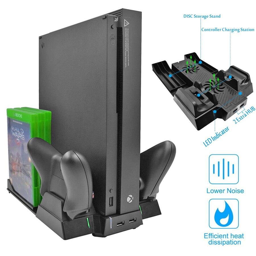 Verticale Basamento di Raffreddamento del dispositivo di Raffreddamento Ventola per Xbox One X, regolatore di Carica con 2 Porte HUB & Dischi Rack di Stoccaggio per Xboxone X