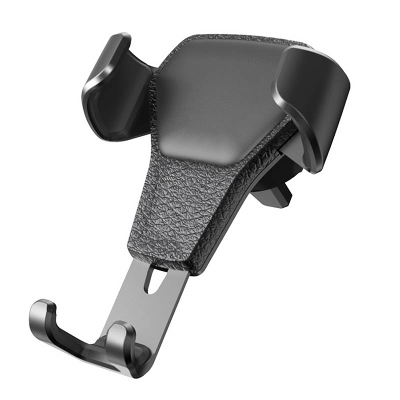 Гравитационный алюминиевый сплав держатель для телефона держатель на вентиляционное отверстие автомобиля Стенд без магнита Универсальный держатель для мобильного телефона смартфона - Название цвета: Черный