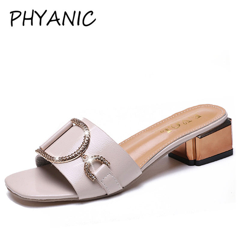 PHYANIC женские босоножки Платформа на высоких каблуках Кристалл лианы толстый каблук Летние тапочки резиновые босоножки на каблуках женские