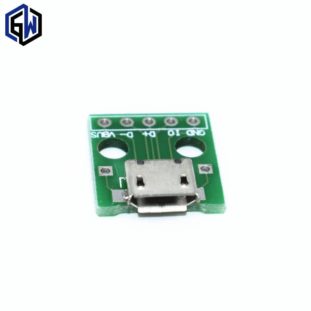 100pcs MICRO USB to DIP Adapter 5pin Female Connector B Type PCB Converter