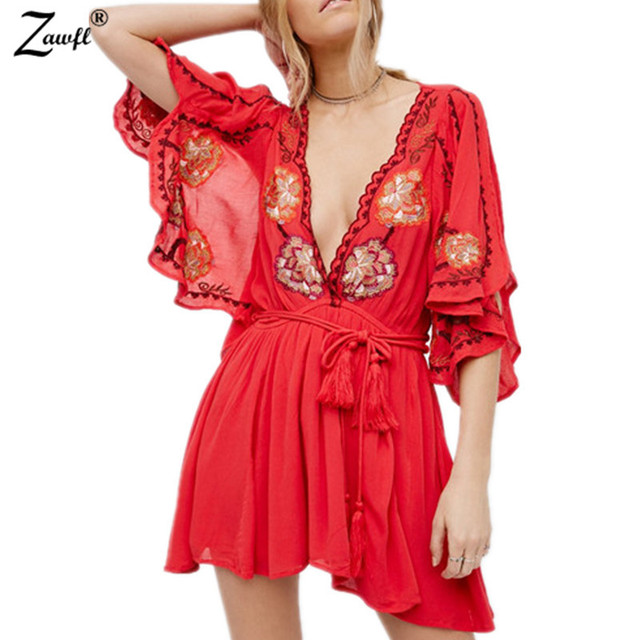 7515250c98 ZAWFL 2017 summer runway Women Vintage Ethnic Flower embroidered Deep V  neck Hippie Boho People Cotton Sexy Dresses-in Dresses from Women's  Clothing & ...