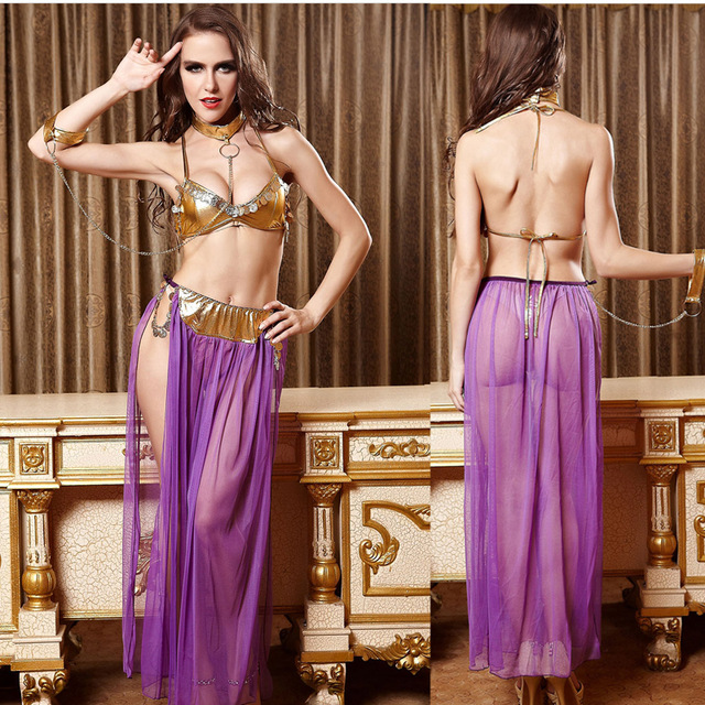 b7f063aa8bdd 2018 New Adult Women Sexy Star Wars Slave Princess Leia Costume Bikini Bra  With Skirt Halloween Lady Fancy Dress Cosplay Costume