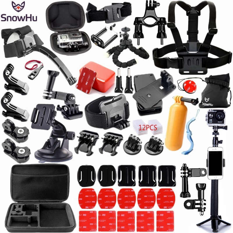 SnowHu For Gopro accessories set for go pro hero 8 7 6 5 4 kit 3 way selfie stick for Eken h8r / for xiaomi for yi EVA case GS98