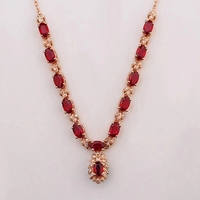 classic Natural Ruby necklace for women red pendant with silver
