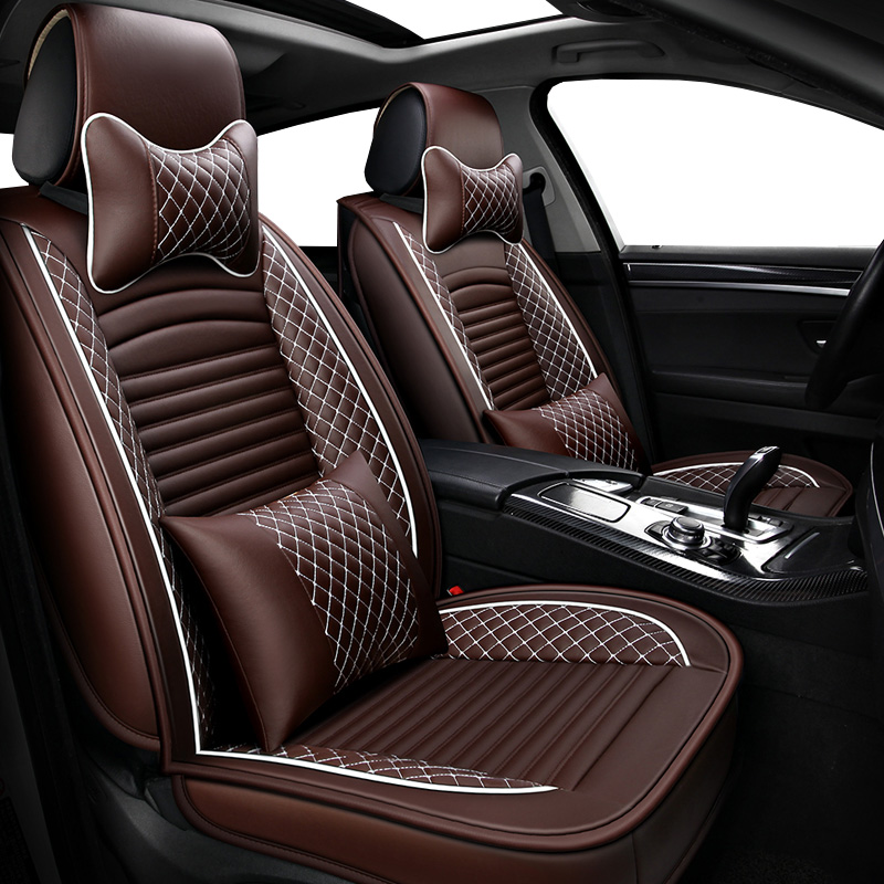 Front Rear PU Leather auto universal car seat covers for KIA RIO peugeot lada kalina