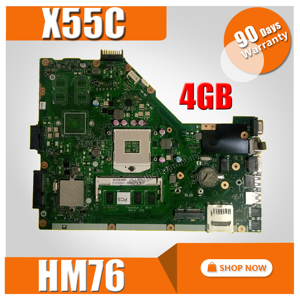 X55C Motherboard 4GB HM76 For ASUS X55VD X55C Laptop motherboard X55C Mainboard X55C Motherboard test 100