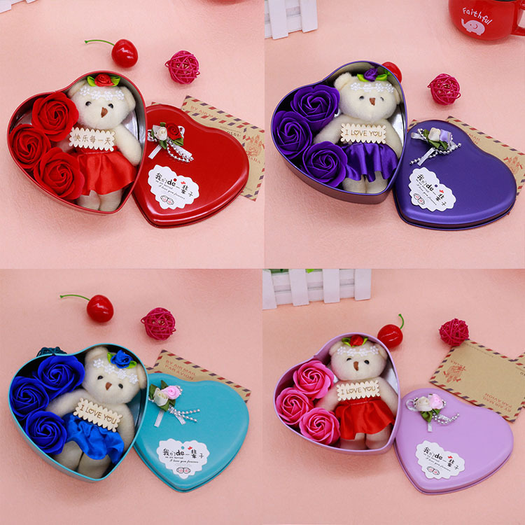 <font><b>Lovely</b></font> <font><b>Heart-Shaped</b></font> Rose Soap Flower with Plush Animal <font><b>toys</b></font> Teddy <font><b>Bear</b></font> <font><b>Doll</b></font> Romantic Wedding Party Flower Petals Valentine gifts