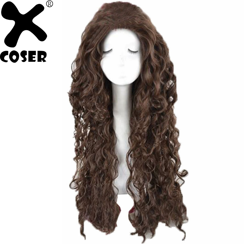 XCOSER Bellatrix Lestrange Cosplay Headwear Women Long Brown Curly Hair Movie Cosplay Props Party Costume Accessory