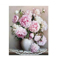 DIY Oil Painting By Numbers Pink Europe Flower Acrylic Hand Painted On Canvas Gift For Women