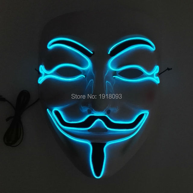 New arrival EL lighting V or Vendetta mask Adult Novelty Lighting for party halloween and christmas By 3V Sound Active Driver