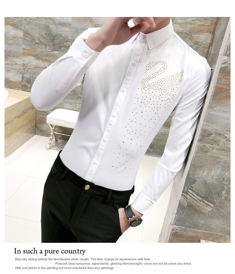 f82b95488 Detail Feedback Questions about 2018 Gold Swan Print Shirt Men Black ...