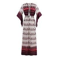 Kinikiss Bohemian Maxi Dress Geometric Print Ruffle Half Sleeve Dress High Waist Summer Autumn Beach Elegant