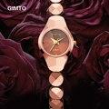 Mujeres elegantes relojes Famosos GIMTO marca mujeres reloj pulsera de moda Señoras De Lujo delgado de cuarzo relojes de pulsera relogio feminino