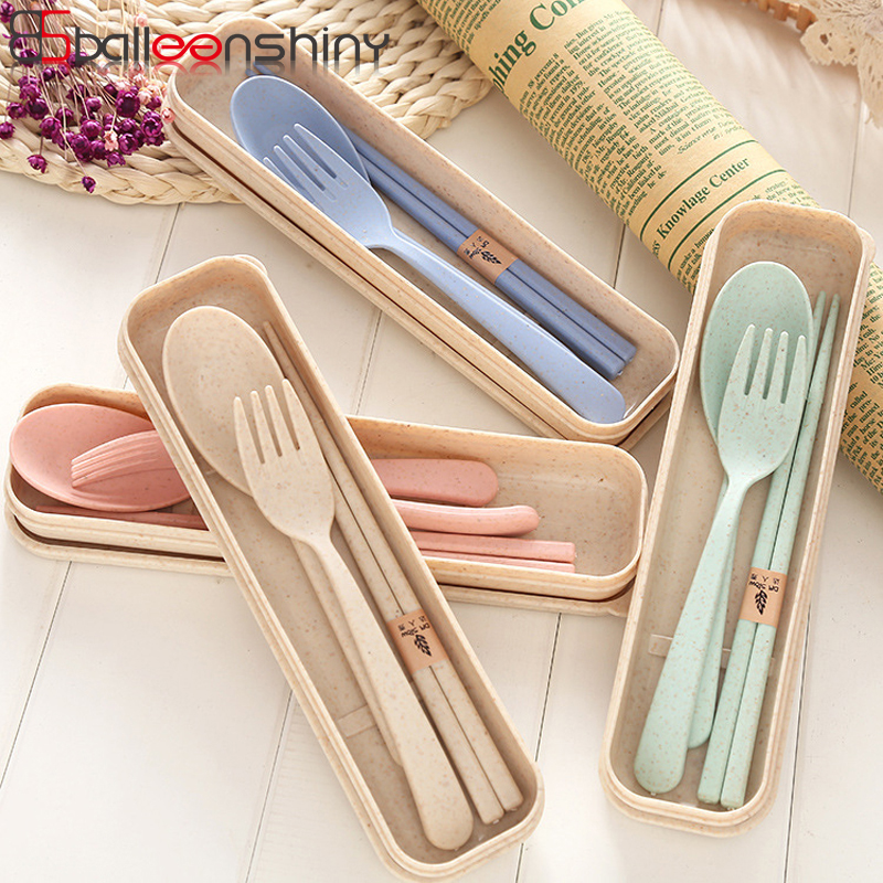 BalleenShiny Portable Wheat Straw Tableware Cutlery Set Three Piece For Children Adult Travel Cutlery Kit Gift Dinnerware Set