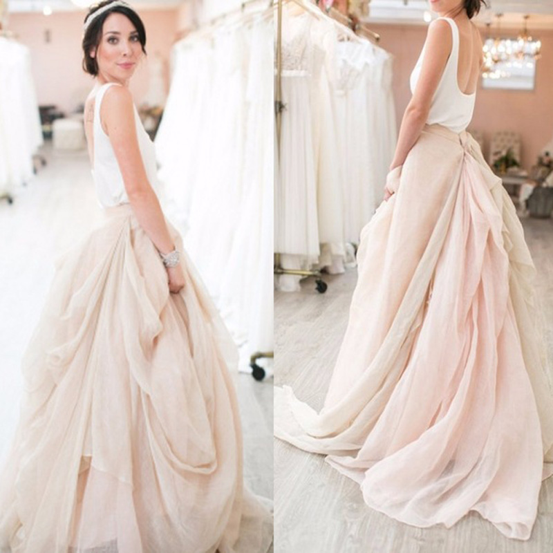 Romantic Chiffon Flouncing Wedding Skirt Fashion Ruffles Big Ruched Bridal Skirt Customized Whimsical Long Skirt Prom Party Gown