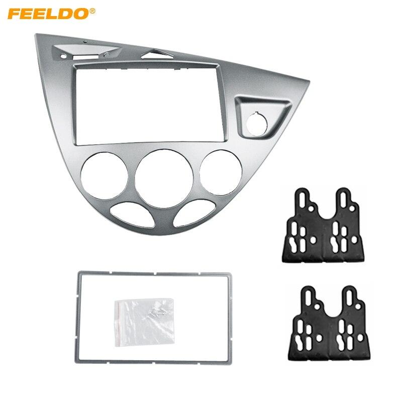 FEELDO argent voiture 2DIN panneau stéréo Fascia Radio réaménagement Dash kit d'outils pour habillage pour Ford Focus 98 ~ 04 (RHD)/Fiesta 95 ~ 01 (RHD)