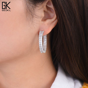 Image 5 - GODKI 35MM  Luxury Multicolor Cubic Zirconia Big Hoop Earrings for women Wedding Dubai Trendy Earrings boucle doreille femme