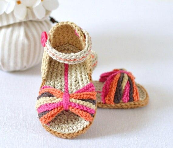 Ganchillo bebé Sandalias París estilo, bebé verano crochet Zapatos ...