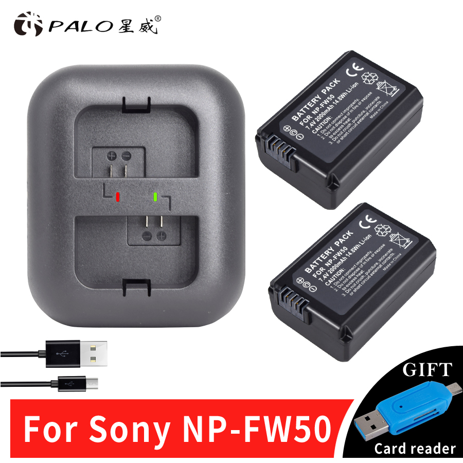PALO 2x bateria NP FW50 NPFW50 NP-FW50 Battery for SONY NEX 5T 5R 5TL 5N 5C 5CK A7R A7 F3 3N 3CA55 A37 A5000 A6000 A55+a Charger