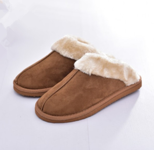 c225279bf9158 Womens Mens Unisex Slip On Faux Fur Warm Winter Mules Fluffy Suede Comfy  Slippers Plus Sizes Fit EU 37-44