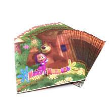 20 шт одноразовые бумажные салфетки столовые приборы Маша и Медведь Дизайн Декор для вечеринки в честь Дня рождения поставки для детей домашний душ сувениры