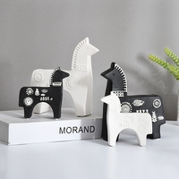 Nordic modern simple wind Ceramic Horse 4PCS/SET household decoration living room Swedish dara Furnishing articles Crafts