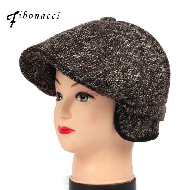 Fibonacci Middle aged and old man vintage flat cap knitted ear protection  beret plus velvet hat newsboy cap 3f034efb45b