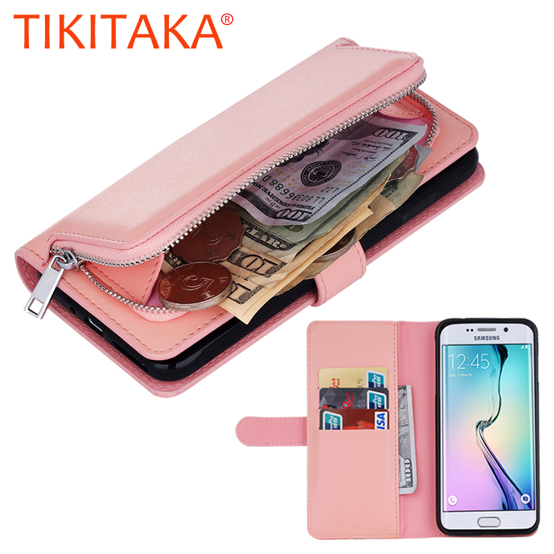 2 in 1 Leather Flip For Iphone 7 6 6s Plus Cover Multifunction Wallet Case For Samsung Galaxy S8 S7 S6 edge Plus S5 Phone Bags