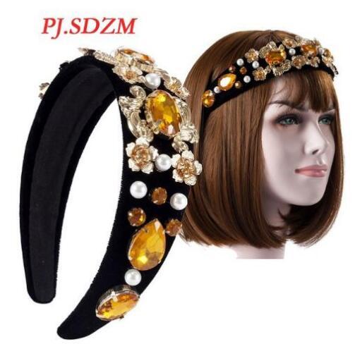 Mode Europäischen Vintage Barock Haar Zubehör Strass Floral Wideside Hairband Party Haar Schmuck Hairwear FG0006