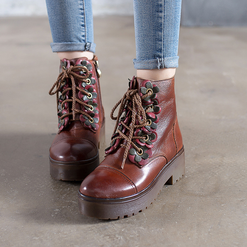 Women Genuine Leather Motorcycle Boots Lace Up 5 CM High Heels Martin Autumn Shoes 2018 Brown Handmade Women Leather Ankle Boots цена